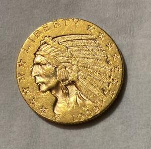 1909 D Gold Indian Head $5.00 Half Eagle Coin
