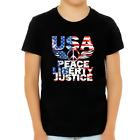 4th of July Shirts for Boys USA Shirt Patriotic Shirts for Boys Peace Liberty Ju