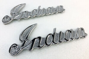 """GILROY INDIAN MOTORCYCLE """"INDIAN"""" SCRIPT TANK BADGES EMBLEMS CHIEF SCOUT SPIRIT"""