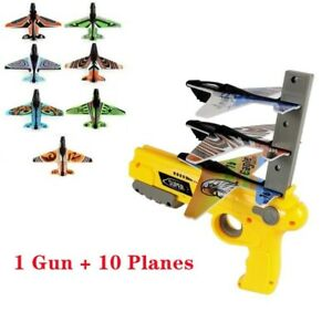 Bubble Catapult Plane Toy with 10 Pcs Ejection Glider Airplane Model Foam Launch