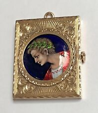 Beautiful Antique Victorian French Enamel Julius Caesar 14K YG Locket signed RN