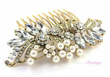 Bridal Wedding Vintage Style Crystal & Pearl Gold Hair Comb Slide HC04