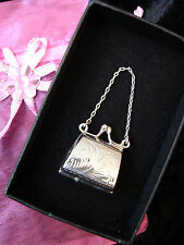 LARGE ENGRAVED LOCKET HANDBAG NECKLACE PENDANT STERLING SILVER 925 CHAIN BOXED