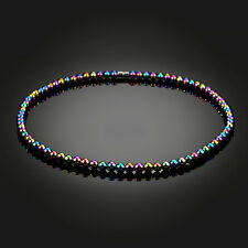 FT- Men Women's Rainbow Magnetic Artificial Hematite Round Bead Necklace Jewelry