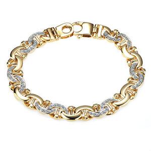 1.50 Karat Herren Seemann Link Diamant Armband 14k Gelbgold 50 G 21.6cm
