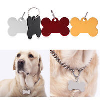 Puppy Pet Dog Cat Small Stainless Bone Print ID Name Collar Fashion Tag FA