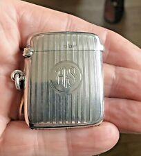 Antique Solid Silver Vesta Case Or Pill Box. 1919 Birmingham