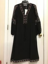 NWT ZARA LONG MIDI FLORAL EMBROIDERY DRESS IN BLACK Size S, L  Retail $69