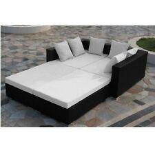 Divano scomponibile nero set rattan cuscini moderni arredo giardino esterno |9