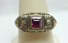 ANTIQUE 14KT WG RED STONE?  DIAMONDS FILLIGREE RING SZE 7.5  1.9g I-1368