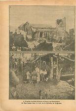 Ruines Eglise Saint-Hilaire-le-Grand Champagne Messe Bois  WWI 1916 ILLUSTRATION