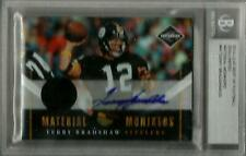 Terry Bradshaw 2010 LIMITED MONIKERS JERSEY AUTO CARD Steelers 2014 LEAF 1/1 BGS