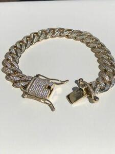 "Mens ICY Miami Cuban Link 8.5"" Bracelet 14k Gold Plated 12mm 10ct Man Diamonds"