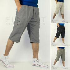 d487f6af6e Mens 3/4 Long Length Shorts Elasticated Waist Cargo Combat Three Quarter  Shorts