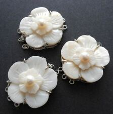 Triple strand box clasp-Carved flower, white Mother of Pearl shell, white Pearl