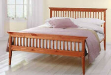 King Size Bed + Mattress 5ft Pine Shaker Caramel