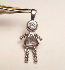 GIRL BIRTHSTONE APRIL CLEAR STONE STERLING SILVER 925 CHARM PENDANT