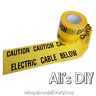 Caution Electric Cable Below Under Ground Safety Tape Black Yellow Buried Sign
