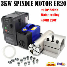 3KW Water-cooled Spindle Motor 220V ER20 4Bearing 24000RPM VFD Inverter&Bracket