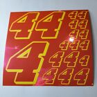 PINK CHROME w/Yellow  #4's Decal Sticker Sheet DEFECTS  1/8-1/10-1/12 RC Mo BoxD