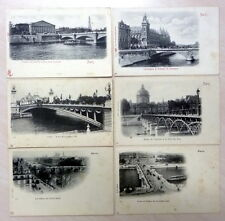 FRANCE  PARIS  BRIDGES  6 OLD  POSTCARDS
