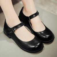 New Mary Janes Womens Vintage Round Toe Ankle Strap Flat Lolita Court Shoes Size