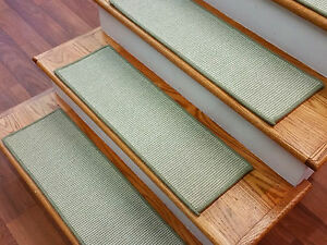 """Green Stair Treads by Rug Depot - Set of 7 Wool Non Slip Carpet Treads 28"""" x 9"""""""