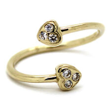 Pave Hearts with Six 2mm Cz 14K Solid Yellow Gold Toe Ring Crossover