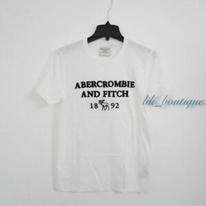 NWT Abercrombie & Fitch Men's Graphic 1892 Logo Short Sleeve Shirt White Navy L