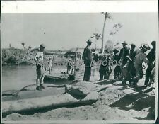 1943 World War II Troops Pull Raft Across River Original Photo