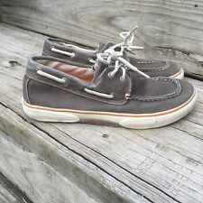 Sperry Top-Sider Halyard Boat Shoes sz 3.5 Boys Kids Brown Canvas Lace Up