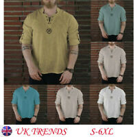 Men Summer Fashion Personality Cotton-linen Solid Long Sleeve Top Causal Shirts