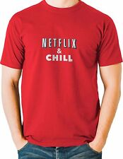Netflix and Chill Red T Shirt Funny Mens Sizes Small to 3XL Free Shipping