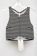 NWT Staple the Label Cropped Top Womens Black & White Stripe Small