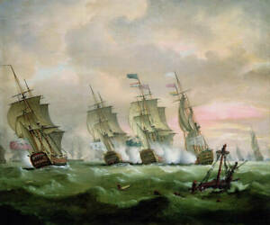 Oil painting seascape Naval battle sink the enemy's ship sail boats hand painted