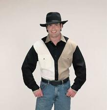 New Men's Western Express Black Tan White Shirt With Pearl Snaps Size Small