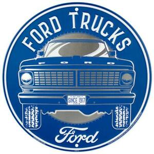 """Ford Trucks 12"""" Round Metal Sign Since 1917 Garage Embossed Retro Wall Decor"""