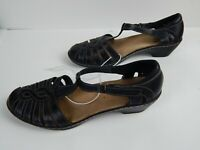 Clarks Bendables Women's Black Leather Close Toe Sandals Shoes US Size 8.5 M