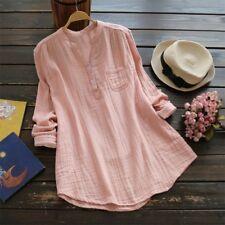 Summer Women's Blouse Ladies Loose Long Sleeve Casual Shirt Tops Cotton Linen