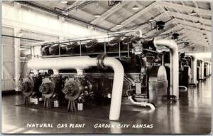 "GARDEN CITY, Kansas Postcard ""NATURAL GAS PLANT"" Interior View Unused c1950s"