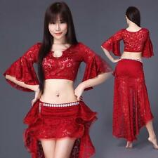 New 2016 Women Lace Belly Dance Costumes Club Stage 2Pics Top& Long Skirt