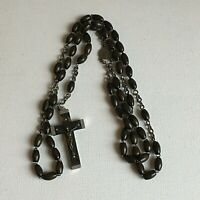 Vintage Brown Rosary Beads Wooden Crucifix Cross Christianity 23.25in Drop