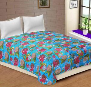 Twin Kantha Quilt Bedspreads Cotton Vintage Handmade Floral Blanket Throw Quilt