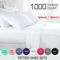 Home 1000TC 3/4PCS FLATTED FITTED SHEET SET QUILT COVERS-TWIN/FULL/QUEEN/KING