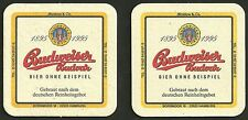 """Bierdeckel """"Budweiser Budvar, 1995"""" für Getränkegroßhandel Strelow & Co. Hamburg"""
