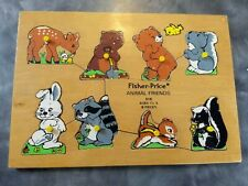 1970'S Vintage Fisher Price Wood Puzzle Animal Friends #519 Preschool with pegs
