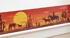"""Sunset Desert Scene Western Horse Cowboy Cactus Wall Removable Decal Border 14"""""""