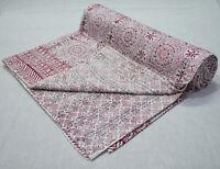 Hand Block Print Indian Kantha Quilt Reversible Bedspread Cotton Blanket Bedding