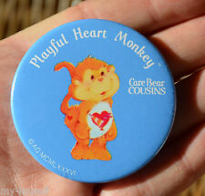 Vintage 1986 CARE BEAR COUSIN  playful heart monkey ROUND PINBACK BUTTON Pin