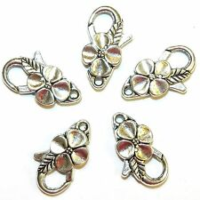 MX7207L Antiqued Silver Large 25mm Flower Design Lobster Claw Focal Clasp 25pc